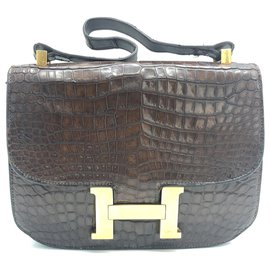 Hermès-Vintage Hermes Kelly Constance Brown Crocodile Laether bag-Brown