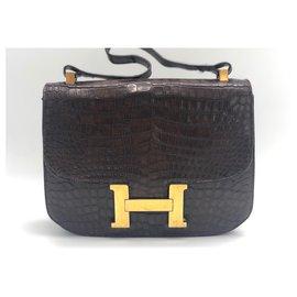 Hermès-Sac vintage Hermes Kelly Constance en crocodile brun-Marron