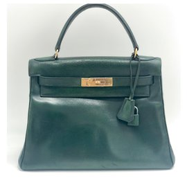 Hermès-Very rare Hermes Kelly green sapin box 28 cm leather bag-Green