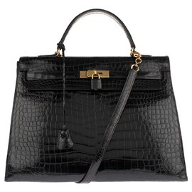 Hermès-Superb Hermes Kelly 35 Crocodile black Porosus shoulder strap in very good condition!-Black