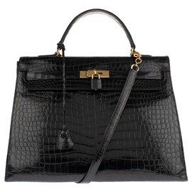 Hermès-Superbe Hermès Kelly 35 bandoulière en Crocodile Porosus noir en très bon état!-Noir