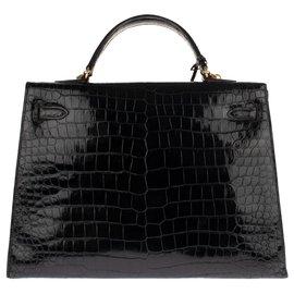 Hermès-Superb Hermes Kelly 35 Krokodilschwarzer Porosus-Schultergurt in sehr gutem Zustand!-Schwarz
