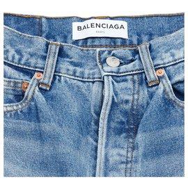 Balenciaga-MOM JEANS PATCHWORK FR36 US27 NEW-Blue