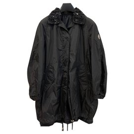 Moncler-Decorated trench parka-Black