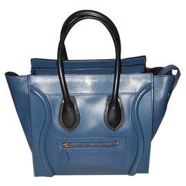Céline-Céline sac Luggage Micro bleu et noir superbe-Noir,Bleu