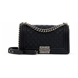 Chanel-BOY 25 CAVIAR BLACK NEW-Noir