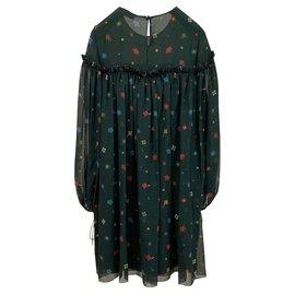 Chloé-Printed silk chiffon dress-Dark green