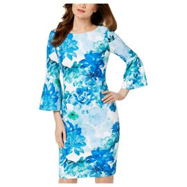 Calvin Klein-Calvin Klein blue flowers print chic dress-Blue