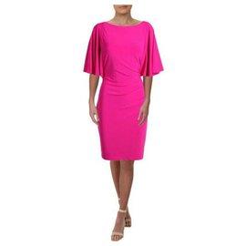 Ralph Lauren-Stunning fuschia draped dress with butterfly sleeves Ralph Lauren-Fuschia