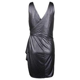 Calvin Klein-Gorgeous Calvin Klein faux drape cocktail dress US 12 - UK 16-Dark grey