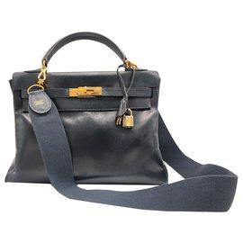 Hermès-Hermes Kelly blaue Ledertasche.-Dunkelblau