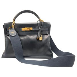 Hermès-Hermes Kelly blue leather box bag.-Dark blue