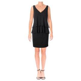 Ralph Lauren-Ralph Lauren Black Ruffle Cocktail Dress 42-Black