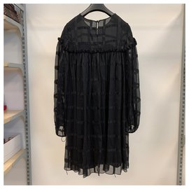 Chloé-Black silk chiffon dress-Black
