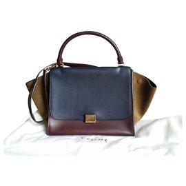 Céline-Celine medium trapeze bag-Dark red,Mustard,Navy blue