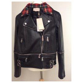 Christopher Kane-Veste de cuir motard en cuir noir avec col tartan et fermeture éclair-Noir,Multicolore