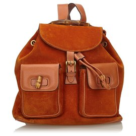 Gucci-Gucci Sac à dos à cordon en daim et bambou orange-Orange