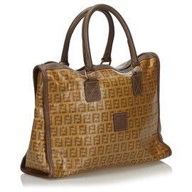Fendi-Fendi Brown Zucchino Coated Canvas Handbag-Brown