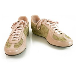 Gucci-Gucci Pink Leather and GG monogram canvas designer sneakers trainers Shoes 38-Beige