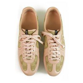 Gucci-Gucci Pink Leather und GG Monogram Canvas Designer Sneakers Sneakers Schuhe 38-Beige