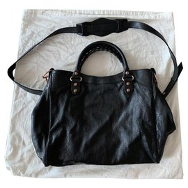 Balenciaga-Black leather bag Balenciaga bike giant studs rose gold-Black