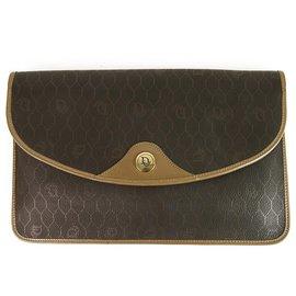 Christian Dior-Christian Dior Vintage Pochette à rabat en cuir brun clair avec toile et monogram-Marron
