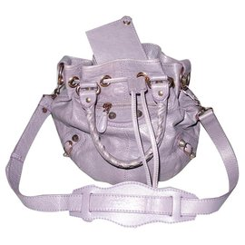 Balenciaga-Balenciaga Giant mini pompon cuir vieilli lilas-Lavande