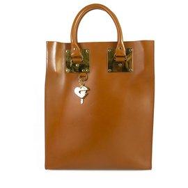Sophie Hulme-SOPHIE HULME Grand sac Albion Sac à main en cuir beige à bandoulière dorée Shopper Messenger-Caramel