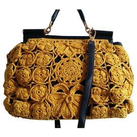 Dolce & Gabbana-Sicily en crochet-Noir,Jaune