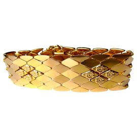 No Name-Important 18K Gold Articultated Bracelet, XXth Century-Golden