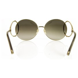 Chloé-Chloe CE124S 736 Brown Gradient Gold Tone Metal Sunglasses Round Frame-Brown