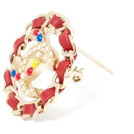 Chanel-RED LEATHER CHAIN CC-Golden