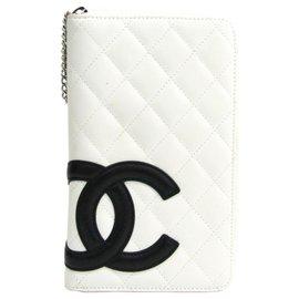 Chanel-Portefeuille Long Ligne Chanel Blanc Cambon-Noir,Blanc