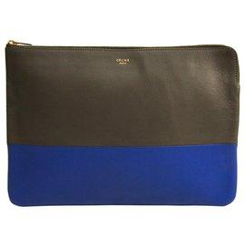 Céline-Celine Brown Bicolor Clutch-Brown,Blue,Dark brown