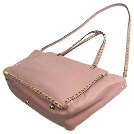 Valentino-Valentino Pink Medium Rockstud Trapeze Satchel-Pink,Golden