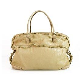 Gucci-GUCCI Nude Leather Sabrina Boston Bag Satchel HandBag with ruffle details-Beige