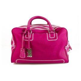Dolce & Gabbana-Dolce & Gabbana D&G Large Lily Ghost Fuchsia Fabric Canvas Bag Handbag  5 zip printed-Fuschia