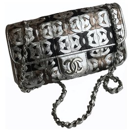 Chanel-Limited  Laser Cut Logo Classic Flap Bag-Silvery
