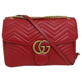 Gucci-Sac à main GUCCI marmont nouveau grand-Rouge