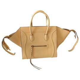 Céline-Sac Céline luggage phantom jaune en cuir grainé-Jaune