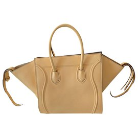 Céline-Céline yellow phantom luggage bag in grained leather-Yellow