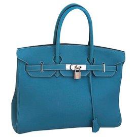 Hermès-Birkin 35-Bleu,Bleu clair