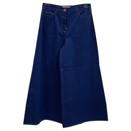 Valentino-Ultra wide leg indigo blu denim jeans-Blue