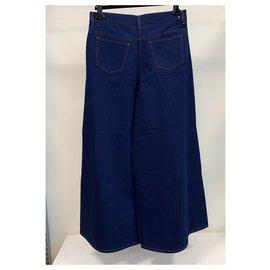 Valentino-Jean ultra large en denim bleu indigo-Bleu