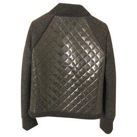 Chanel-Chanel Grey Wool/PVC Casual Cardigan Size 36-Grey