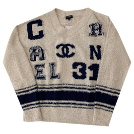 Chanel-Varsity Iconic Logo Pullover Sweater Size 34-Beige