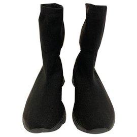 Mm6-Baskets en coton stretch noir-Noir