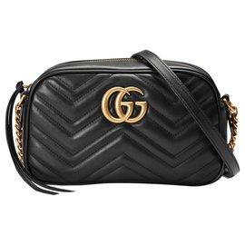 Gucci-GUCCI Sac à épaule petite taille à motif GG Marmont matelassé-Noir