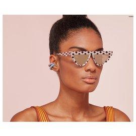 Fendi-FENDI DEFENDER Polka Dot Sunglasses SUNGLASSES OCCHIALI-White,Multiple colors