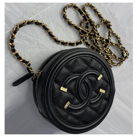 Chanel-New CC Filigree Grained Round Chain Crossbody Bag-Black